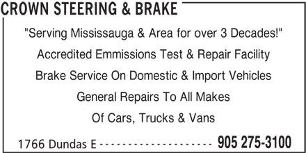 Crown Steering & Brake - 1766 Dundas St E, Mississauga, ON