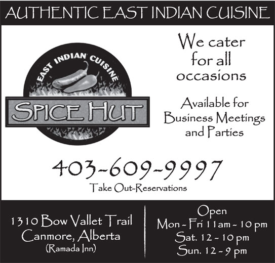 Spice Hut (403-609-9997) - Display Ad -