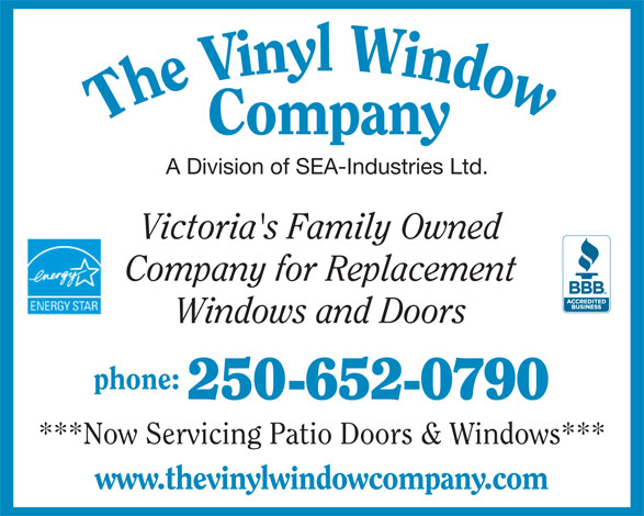 The vinyl window company 6683 oldfield rd saanichton bc for Vinyl windows company