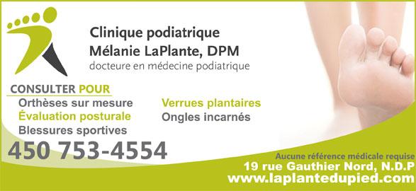 Clinique Podiatrique Mélanie Laplante DPM (450-753-4554) - Annonce illustrée======= -