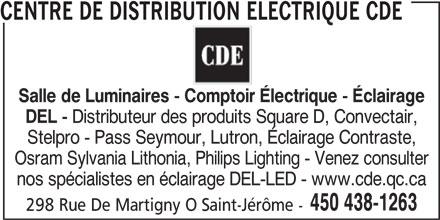 Centre de Distribution Électrique CDE (450-438-1263) - Display Ad -