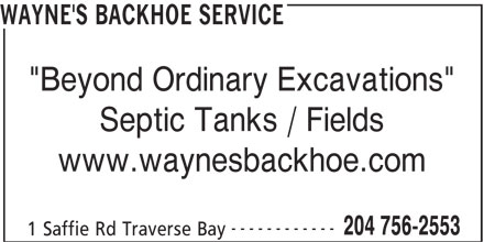 Wayne's Backhoe & Excavation Ltd (204-756-2553) - Annonce illustrée======= -