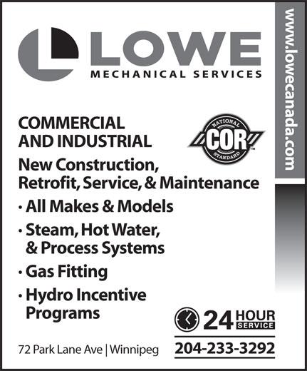 Lowe Mechanical Services Ltd (204-233-3292) - Annonce illustrée======= -
