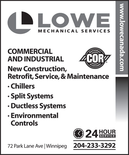 Lowe Mechanical Services Ltd (204-233-3292) - Annonce illustrée======= -