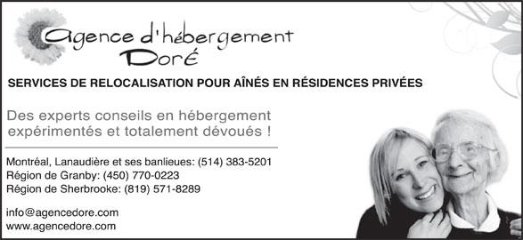 Agence D'Hebergement Doré (819-571-8289) - Annonce illustrée======= -
