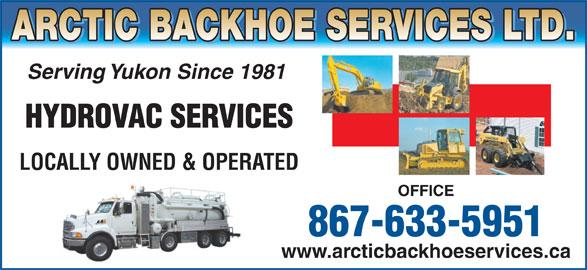 Arctic Backhoe Services Ltd (867-633-5951) - Annonce illustrée======= -