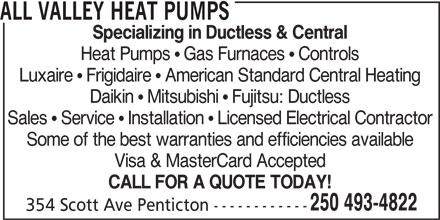 All Valley Heat Pumps (250-493-4822) - Annonce illustrée======= -