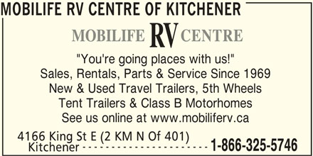 Mobilife Rv Centre Kitchener On 4166 King St E Canpages