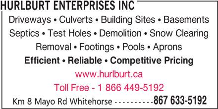 Hurlburt Enterprises Inc (867-633-5192) - Annonce illustrée======= -