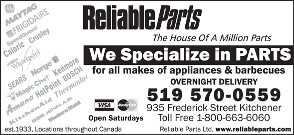 Reliable Parts Kitchener On 935 Frederick St Canpages