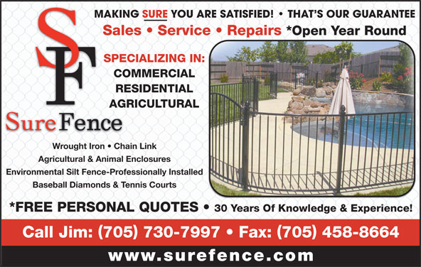 Sure Fence Opening Hours 22 Algonquin Trail Barrie On