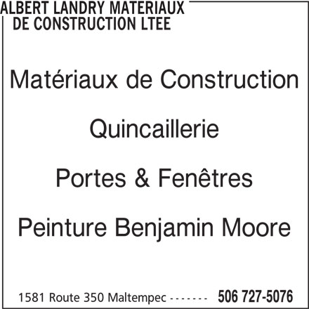 Albert landry mat riaux de construction lt e 1581 route for Fenetre nordist