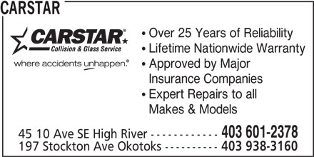 CARSTAR High River Collision Repair Centre (403-601-2378) - Display Ad - 403 938-3160 CARSTAR Over 25 Years of Reliability Lifetime Nationwide Warranty Approved by Major Insurance Companies Expert Repairs to all Makes & Models 403 601-2378 45 10 Ave SE High River ------------ 197 Stockton Ave Okotoks ----------