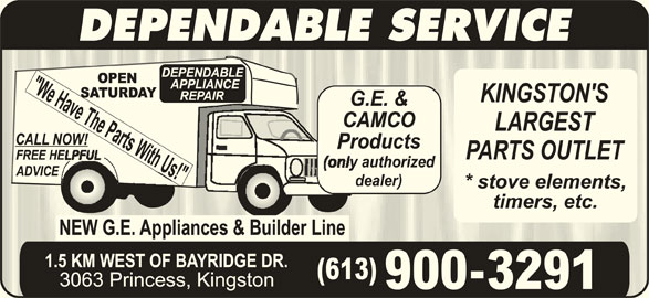 Dependable Appliances (613-389-2421) - Display Ad - DEPENDABLE SERVICE 900-3291
