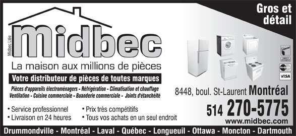 Midbec Ltée (514-270-5775) - Annonce illustrée======= -