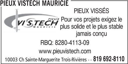 Pieux Vistech (819-692-8110) - Annonce illustrée======= - PIEUX VISSÉS Pour vos projets exigez le plus solide et le plus stable jamais conçu RBQ: 8280-4113-09 www.pieuvistech.com 819 692-8110 10003 Ch Sainte-Marguerite Trois-Rivières -- PIEUX VISTECH MAURICIE