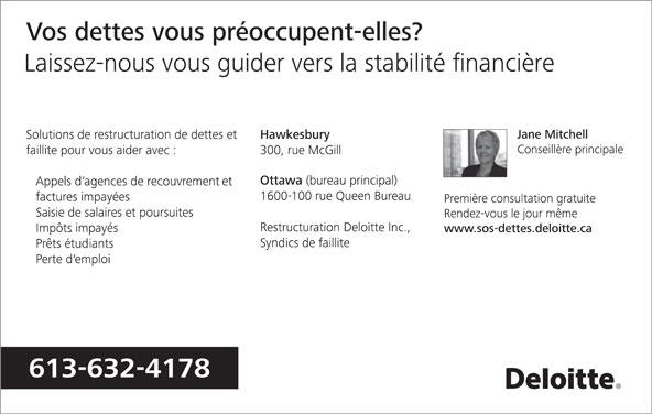 Deloitte & Touche Inc (613-632-4178) - Annonce illustrée======= -