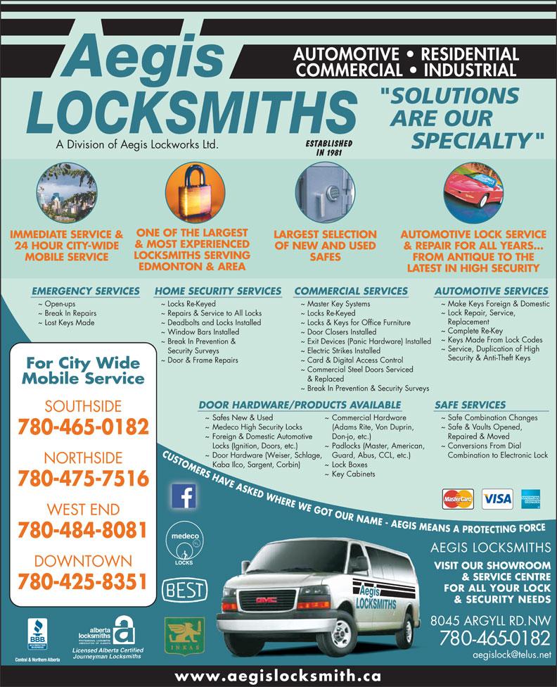 Aegis Locksmiths 8045 Argyll Rd Nw Edmonton Ab