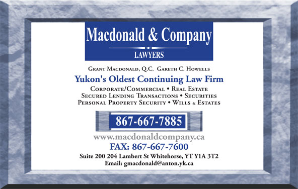 Macdonald & Company (867-667-7885) - Display Ad -