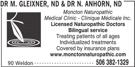 Dr Gleixner & Dr Anhorn - Naturopathic Doctors (506-382-1329) - Display Ad -