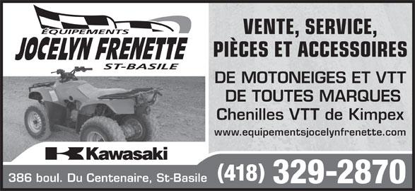 Les Équipements Jocelyn Frenette Inc (418-329-2870) - Annonce illustrée======= -