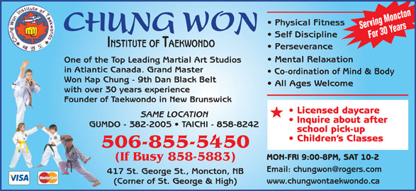 Chung Won Institute Taekwondo (506-855-5450) - Display Ad -