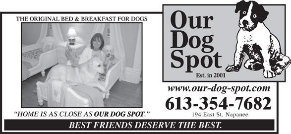 Our Dog Spot (613-354-7682) - Display Ad - OUR DOG SPOT 194 East St, Napanee BEST FRIENDS DESERVE THE BEST. THE ORIGINAL BED & BREAKFAST FOR DOGSORIGINAL BED & BREAKFAST FOR DOGS 613-354-7682 HOME IS AS CLOSE AS