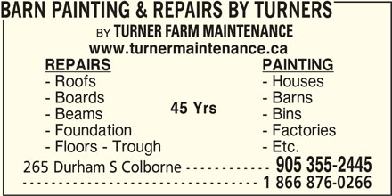 Barn Painting Amp Repairs By Turners Opening Hours 265