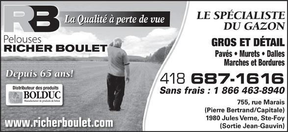 Pelouses Richer Boulet Inc (418-687-1616) - Annonce illustrée======= -