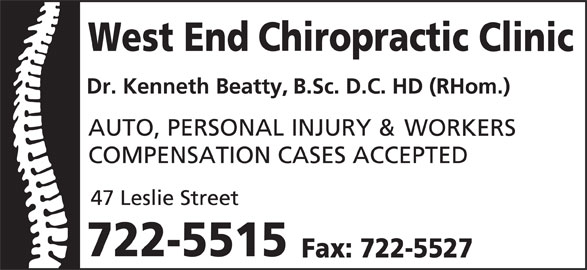 West End Chiropractic Clinic Ltd (709-722-5515) - Display Ad -