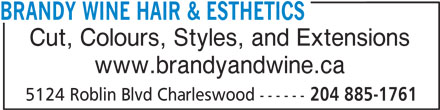 Brandy & Wine Hair Esthetics (204-885-1761) - Display Ad - BRANDY WINE HAIR & ESTHETICS Cut, Colours, Styles, and Extensions www.brandyandwine.ca 5124 Roblin Blvd Charleswood ------ 204 885-1761