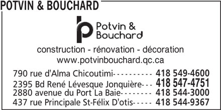 Potvin & Bouchard (418-547-4751) - Display Ad -