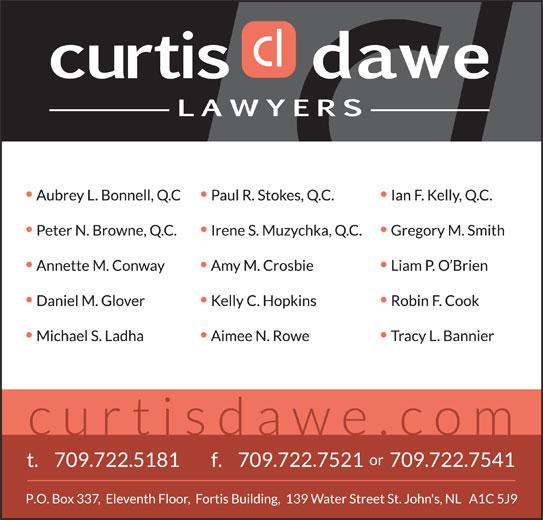 Curtis Dawe Lawyers (709-722-5181) - Display Ad -