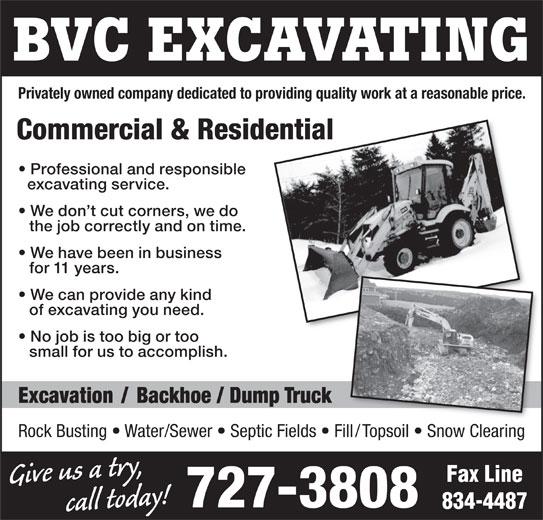 BVC Excavating (709-727-3808) - Annonce illustrée======= -