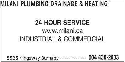 Milani Plumbing, Drainage & Heating (604-430-2603) - Annonce illustrée======= -