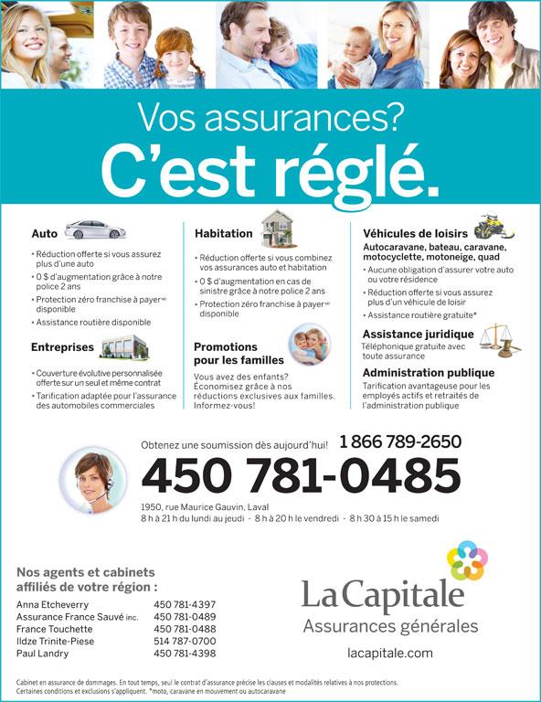 La Capitale  Assurances Generales (450-781-0485) - Annonce illustrée======= -