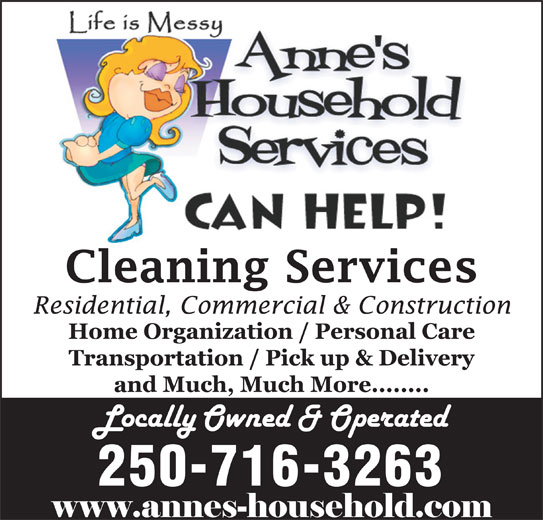 Anne's Household Services (250-716-3263) - Display Ad - 250-716-3263