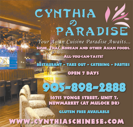 Cynthia's Paradise (905-898-2888) - Annonce illustrée======= - GLUTEN FREE AVAILABLE