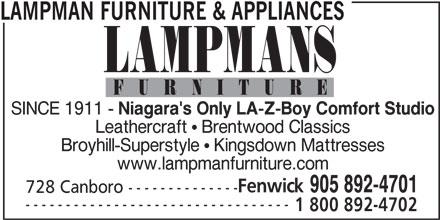 Lampman Furniture & Appliances (905-892-4701) - Annonce illustrée======= -