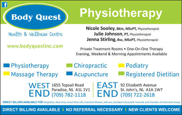 Body Quest Inc (709-782-1118) - Display Ad -