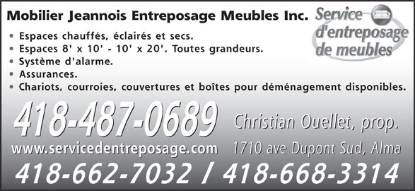 Mobilier jeannois entreposage meubles inc 1710 av du for Entreposage meuble quebec