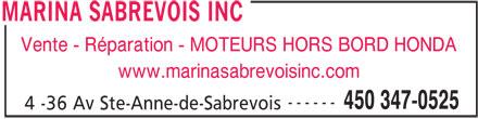 Marina Sabrevois (450-347-0525) - Annonce illustrée======= -