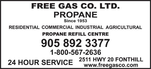 Free Gas Co Ltd (905-892-3377) - Display Ad -