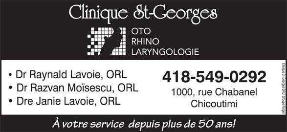 Clinique St-Georges ORL/Groupe Forget (418-549-0292) - Annonce illustrée======= -