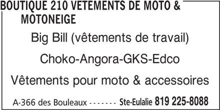 Boutique 210 Vêtements De Moto & Motoneige (819-225-8088) - Annonce illustrée======= -