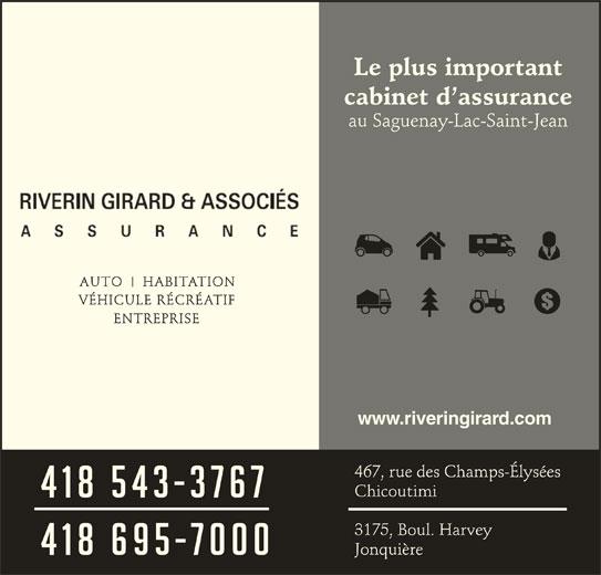 Riverin Girard & Associés Assurance (418-543-3767) - Annonce illustrée======= - www.riveringirard.com