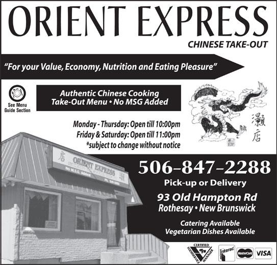 Orient Express Ltd (506-847-2288) - Annonce illustrée======= -