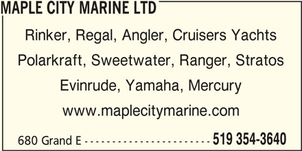 Maple City Marine (519-354-3640) - Annonce illustrée======= -