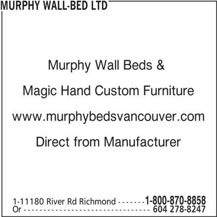 B.C. Murphy Wall-Bed Ltd (604-278-8247) - Annonce illustrée======= -