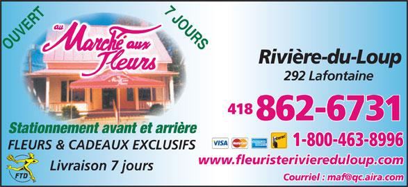 Fleuriste Marché Aux Fleurs Rivière-Du-Loup (418-862-6731) - Annonce illustrée======= -